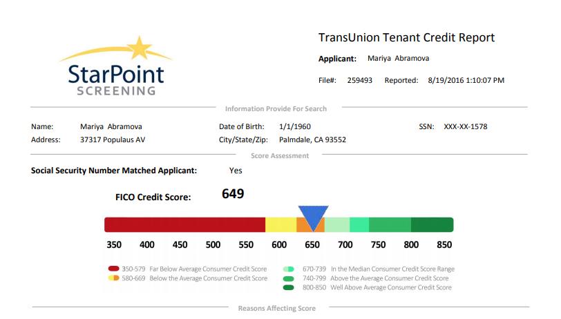 credit report for tenant screening