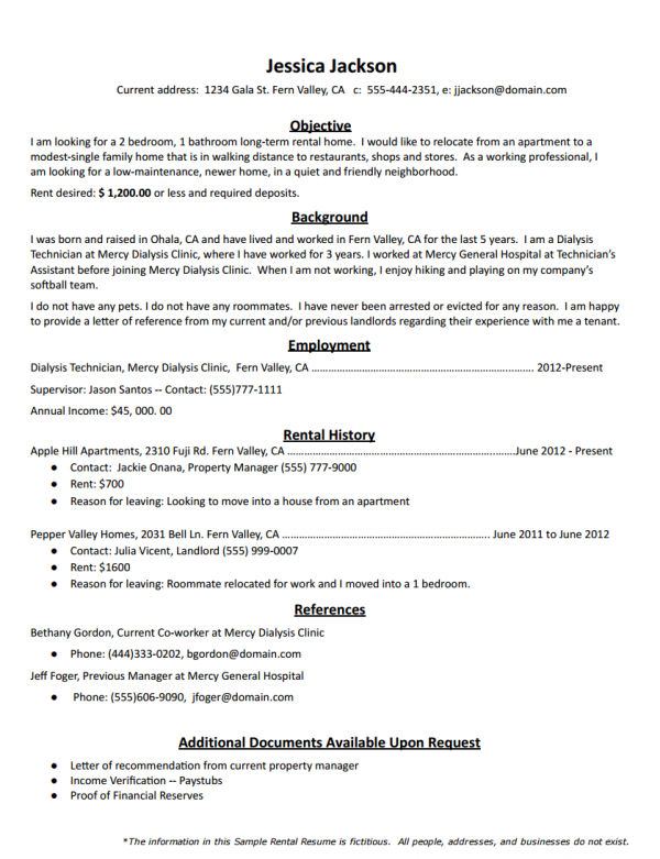 Rental Resume Template