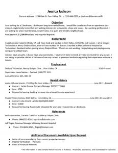 Rental Resume Template