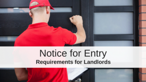 Landlord knocks on rental property door notice for entry
