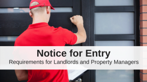 Landlord knocks on rental property door to give notice for entry