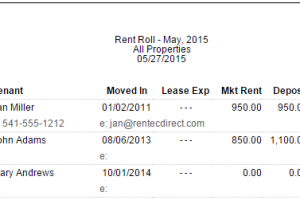 Enhanced Rent Roll Reporting