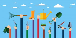 Flat design illustration of hands holding gardening tools. Hands holding various items for gardening. Vector illustration.