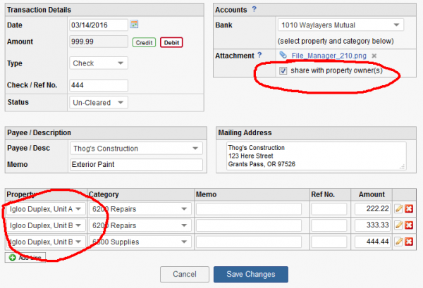 Share Attachment on Split Transaction