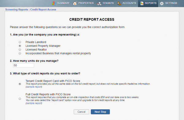 Credit Report access online application