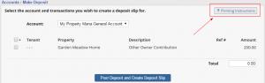 Printing instructions deposit slips