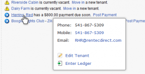 Tenant Contact Information