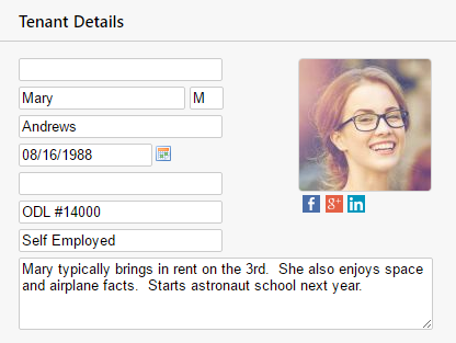 Tenant Pictures & Social Networking Tenant Data