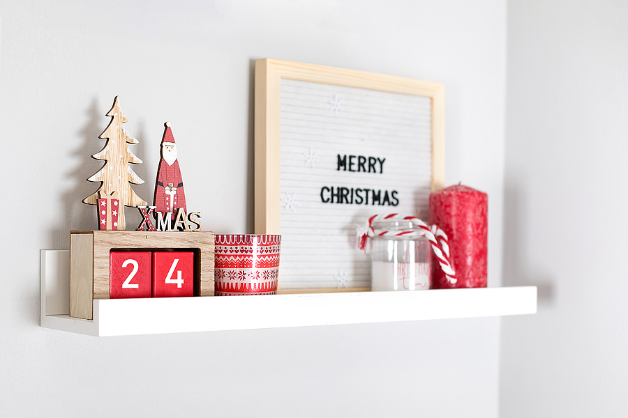 Christmas cards on shelf