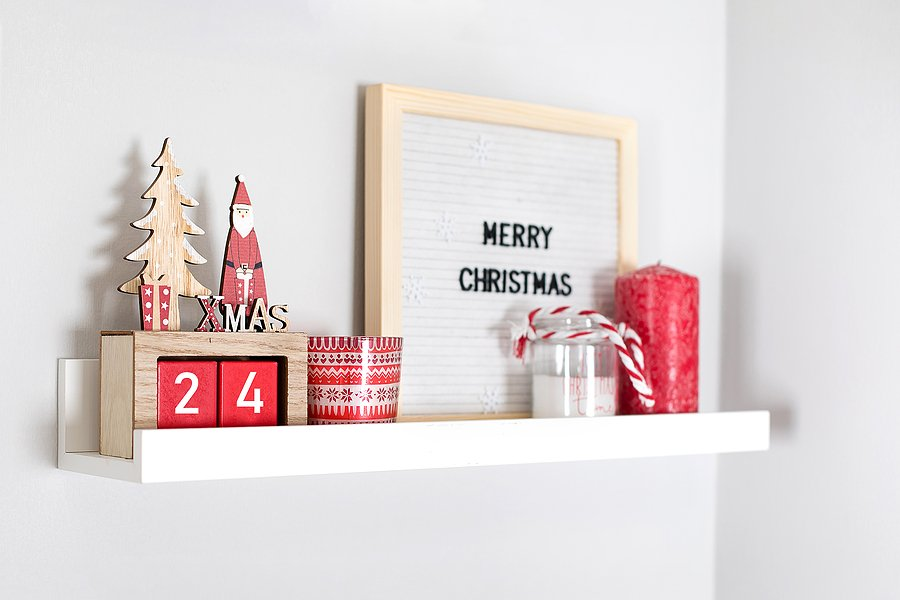 Christmas cards on shelf