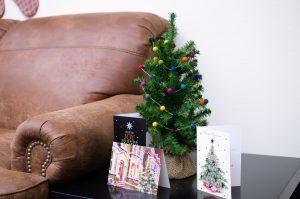 Pom Pom garland on Christmas tree