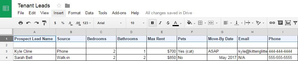 Tenant Lead Tracking by Hand