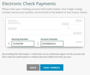 tenant enter online rent payment info