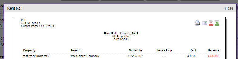 Rent Roll Report Contact Only Rentec