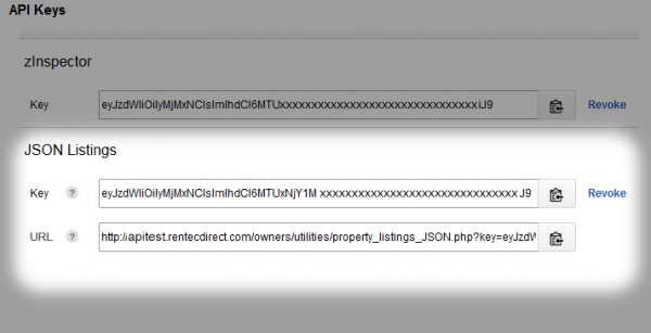 Property Listings JSON API Key