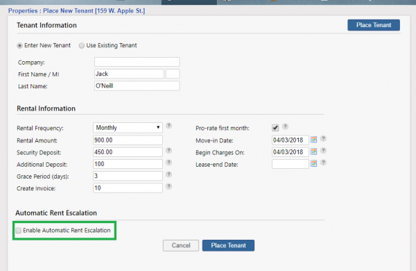 Enable Automatic Rent Escalation Checkbox