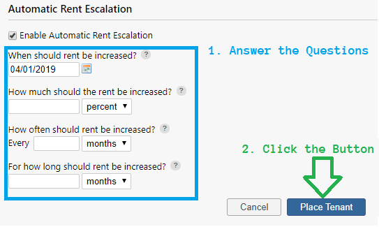 Automatic Rent Escalation Settings
