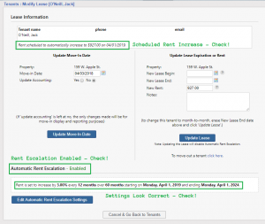 Update Lease with Automatic Rent Escalation Settings Shown