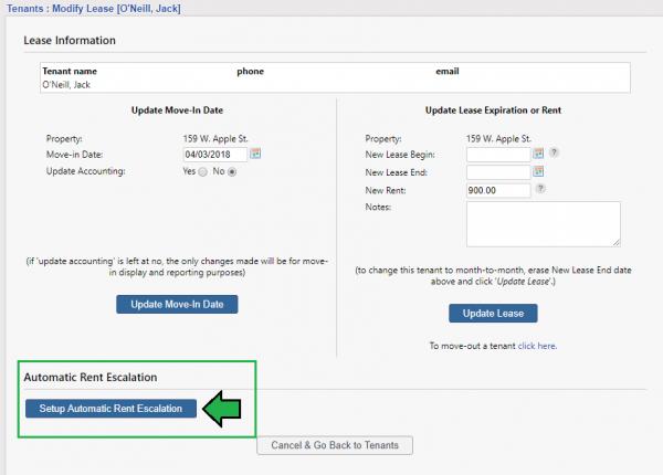 Setup Automatic Rent Escalation button