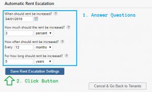 Saving Rent Escalation Settings