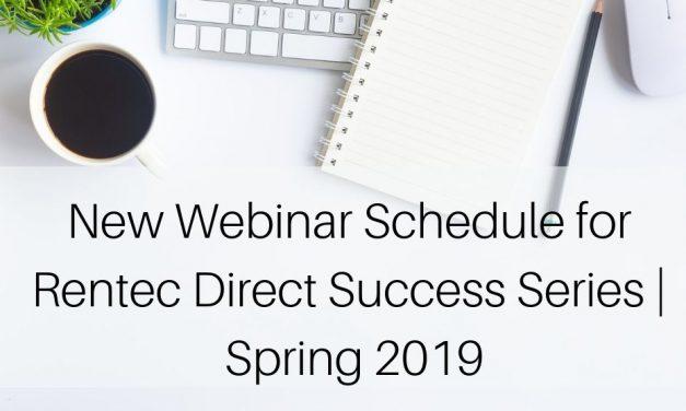 New Webinar Schedule for Rentec Direct Success Series | Spring 2019