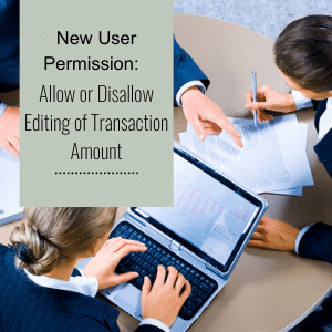 New User Permission:  Allow or Disallow Editing of Transaction Amount