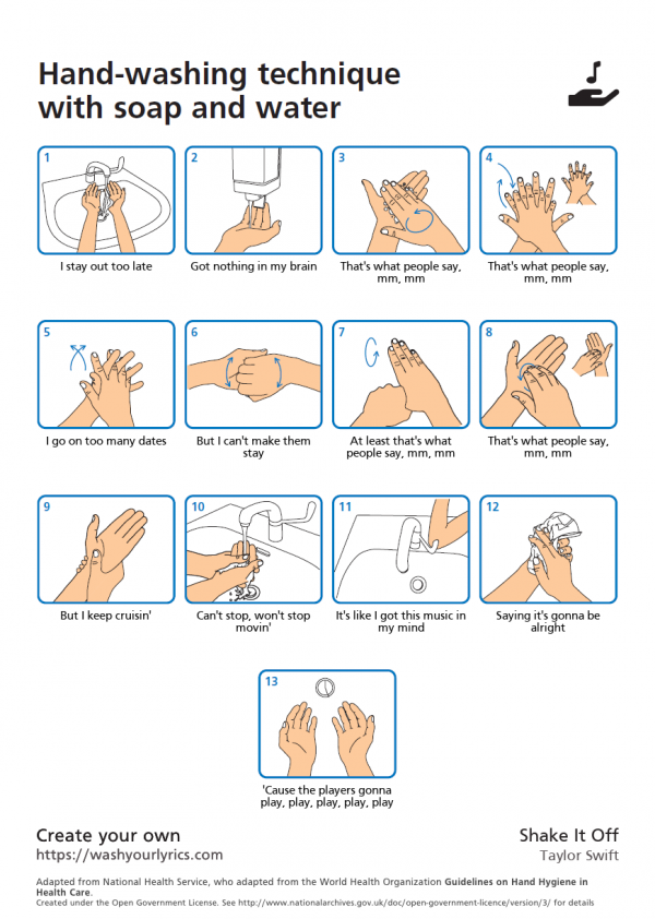 Shake It Off Taylor Swift Lyrics handwashing instructions