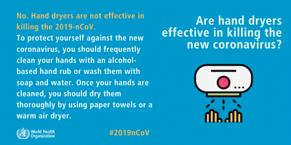 WHO answers questions regarding hand dryers effectiveness against coronavirus