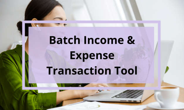 New Batch Income and Expense Transaction Tool