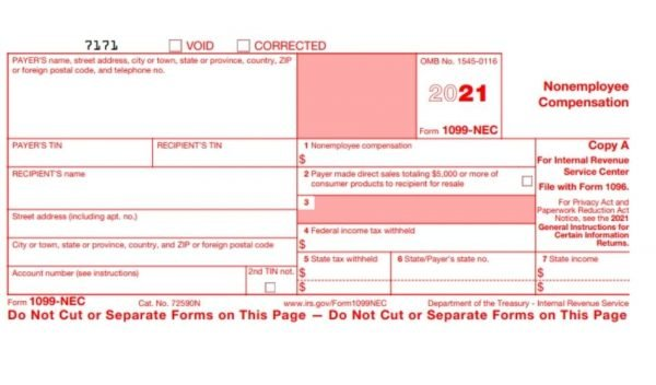 1099 NEC (nonemployee compensation) Sample Form
