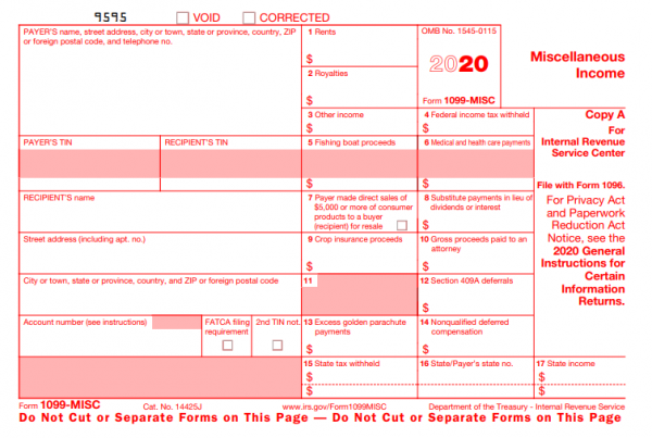 Example of IRS 1099 MISC form