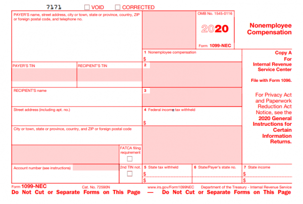 Example of a 1099 NEC (non employee compensation) Form